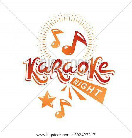 Karaoke night advertising flyer vector poster composed using musical notes.