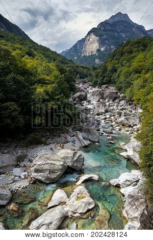 Amazing landscape showing the emerald water flowing in Val Verzasca Switzerland