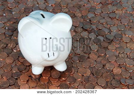 One large white piggy bank sitting on a landscape of old and new pennies. With the collapse of the zinc market the penny has become cheaper to make costing the taxpayer much less.