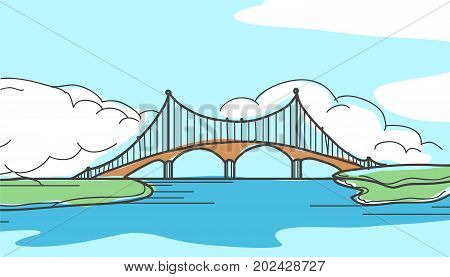 Bridge in hand drawn style colorful vector illustration.