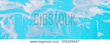 abstract background soap foam on a blue background