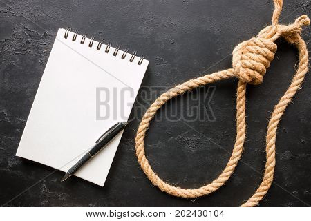 Suicide Rope Loop And Note With Place For Text