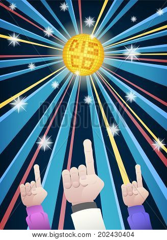 Disco party with hands of men group dance in retro clothes pointing fingers up under gold mirror ball and colorful ray of light in cartoon style