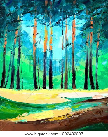 Original oil painting on canvas of a beautiful pine forest - Modern Art - Expressionism