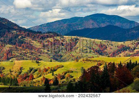 Mountainous Rural Area In Late Autumn
