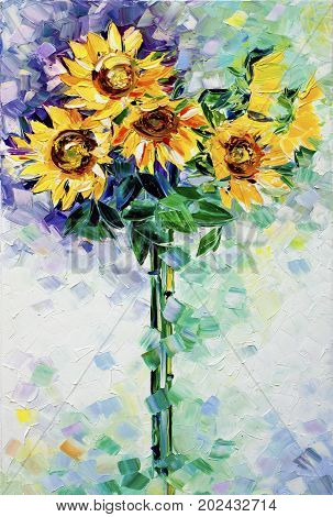 Original oil painting of sunflowers on canvas - Modern Expressionism