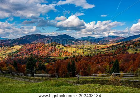 Magnificent Mountainous Rural Landscape In Autumn