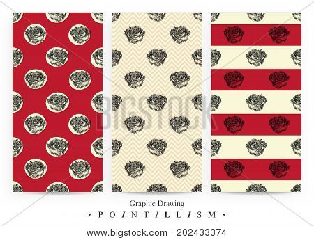 Set of seamless patterns with rose flowers and red stripes isolated on yellow background. Graphic drawing pointillism technique. Botanical natural collection. Floral illustration drawn by hand