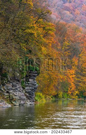 Rocky Cliff Of Mountain River Background