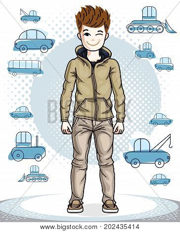 Cute little teen boy standing wearing fashionable casual clothes. Vector attractive kid illustration. Childhood lifestyle clip art.