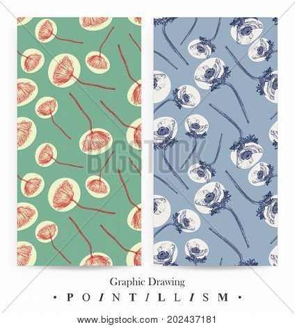 Set of seamless patterns with Poppy flowers on green background and Anemone on blue background. Graphic drawing pointillism technique. Botanical natural collection. Floral illustration drawn by hand