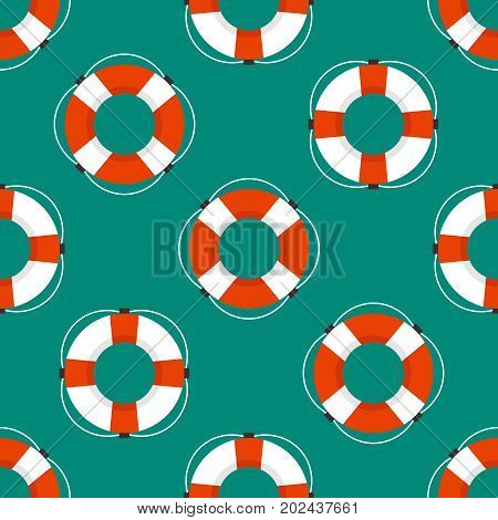 Marine seamless pattern with the image of a life buoy. Flat style.