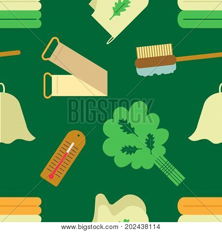Seamless pattern with the image of accessories for baths and saunas. Flat style.