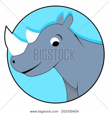 Rhinoceros icon flat. Sticker rhino isolated avatar ui vector illustration