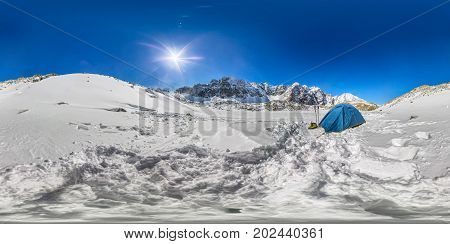 Blue Tent In The Snowy Peaks Of The Mountains. 360 180 Vr Panoramas