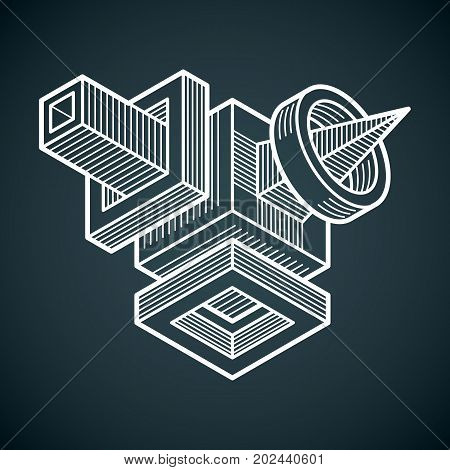 Engineering abstract shape 3d vector polygonal figure.