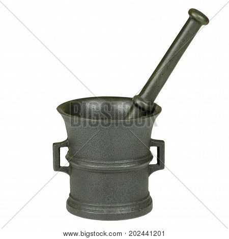 Close-up photo of a cast-iron mortar with a stick isolated on a white background