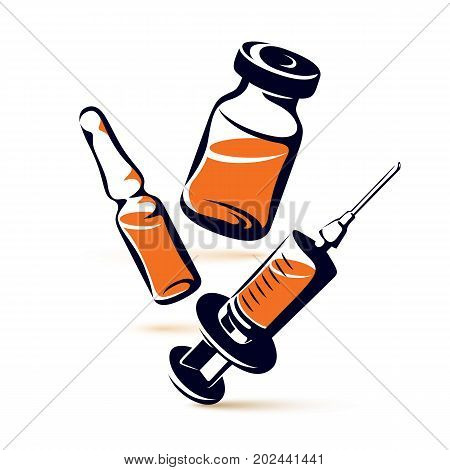 Vector graphic illustration of vial ampoule with medicine and medical syringe for injections. Scheduled vaccination theme.