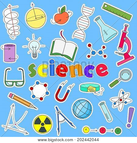 Icons set of patches on the subject of education and science the colored icons on a blue background and the inscription of science
