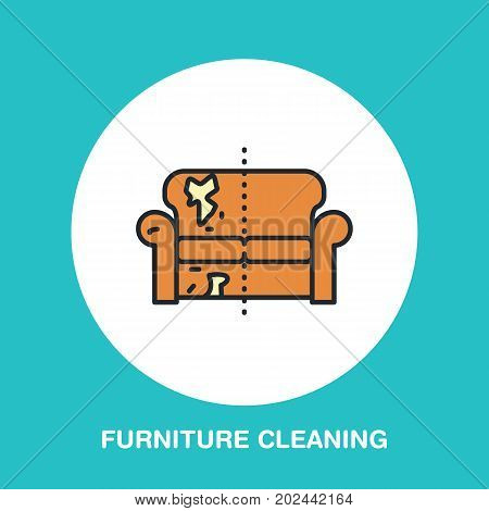 Sofa repair line icon, upholstered furniture dry cleaning logo. Couch flat sign, illustration of dirty home.