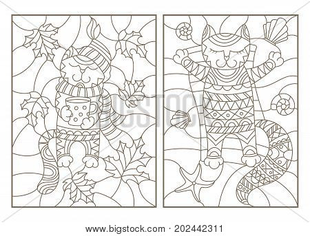 Set contour illustrations of stained glass with funny cats cat Cup and scarf on the background of autumn leaves and resting on the beach cat