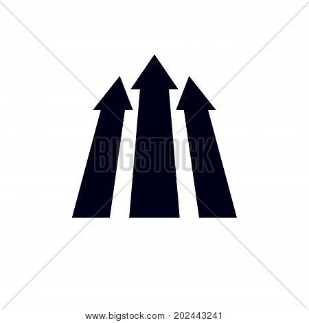 Vector boost up arrow graphic design element. Corporate development logo isolated on white background. Company increasing concept.