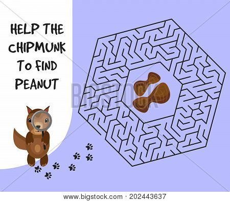 Hexagon education Maze or labyrinth game for children with chipmunk and peanut. Vector illustration. EPS 10