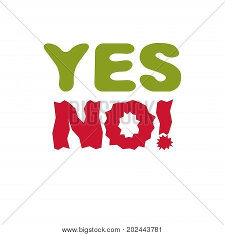 Yes no checkmark. Vector voting sign choice metaphor isolated on white.