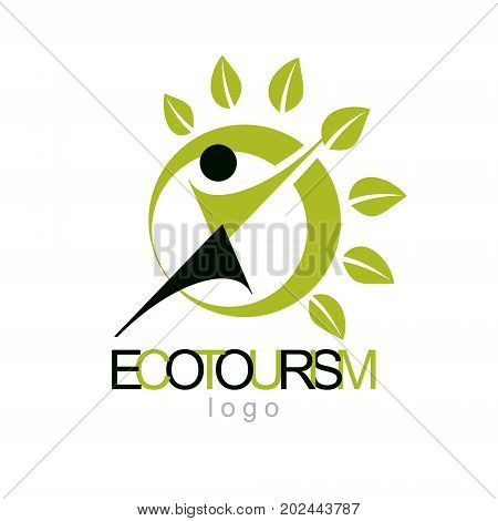 Vector illustration of excited abstract man with raised reaching up. Ecotourism conceptual logo. Environmental conservation theme symbol.