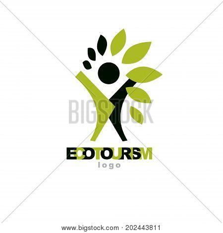 Vector illustration of happy abstract individual with raised hands up. Ecotourism conceptual logo. Environmental conservation theme symbol.