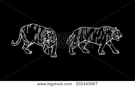 Tiger emblem set. Hand-drawn pencil graphics, tiger head. Engraving, stencil style. Black and white logo, sign, emblem, symbol. Stamp, seal. Simple illustration. Sketch.