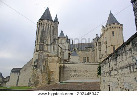 exterior of Saumur Castle in the Loire, France