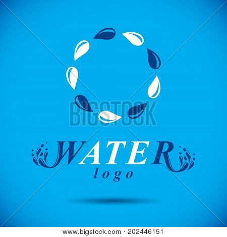 Pure water vector abstract logo for use as marketing design symbol. Living in harmony with nature concept.