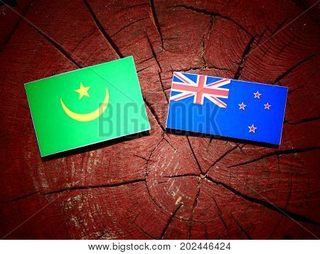 Mauritania Flag With New Zealand Flag On A Tree Stump Isolated