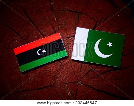 Libyan Flag With Pakistan Flag On A Tree Stump Isolated
