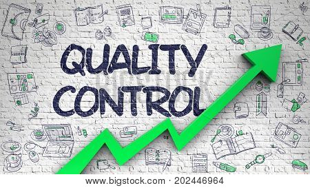 Quality Control Drawn on White Brickwall. Illustration with Doodle Icons. Quality Control - Development Concept with Doodle Icons Around on Brick Wall Background. 3D.