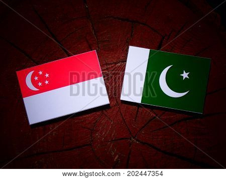 Singaporean Flag With Pakistan Flag On A Tree Stump Isolated
