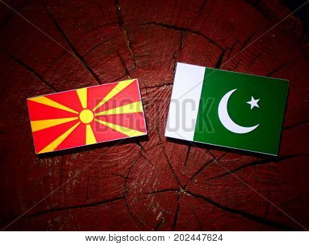 Macedonian Flag With Pakistan Flag On A Tree Stump Isolated