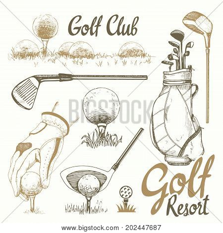 Golf set with basket, shoes, putter, ball, gloves, flag, bag. Vector set of hand-drawn sports equipment. Illustration in sketch style on white background. Handwritten ink lettering.