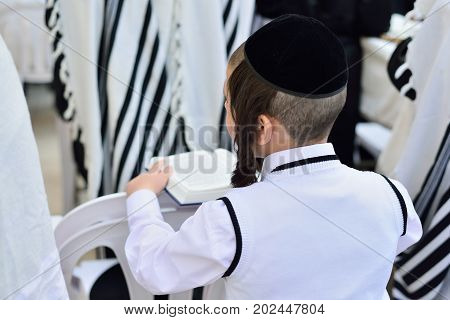 JERUSALEM ISRAEL - APRIL 2017: Jewish hasidic pray a the Western Wall Wailing Wall the Place of Weeping is an ancient limestone wall in the Old City of Jerusalem.