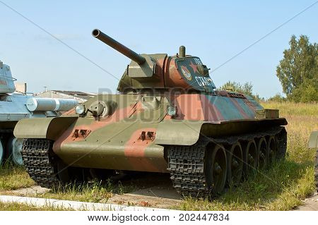 MOSCOW REGION RUSSIA - JULY 30 2006: Tank T-34 built by the Soviet Union in 1941 at the beginning of World War II the Tank Museum Kubinka near Moscow