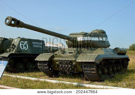 MOSCOW REGION RUSSIA - JULY 30 2006: Heavy tank IS-2 built by the Soviet Union in World War II the Tank Museum Kubinka near Moscow
