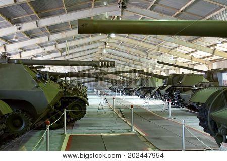 MOSCOW REGION RUSSIA - JULY 30 2006: Soviet heavy tanks in the Tank Museum Kubinka near Moscow