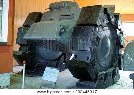 MOSCOW REGION RUSSIA - JULY 30 2006: ALKETT VsKfz 617 minesweeper in the Tank Museum Kubinka near Moscow