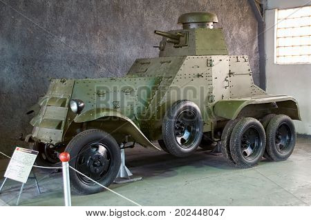 MOSCOW REGION RUSSIA - JULY 30 2006: BA-27 Soviet first armoured car in the Tank Museum Kubinka near Moscow