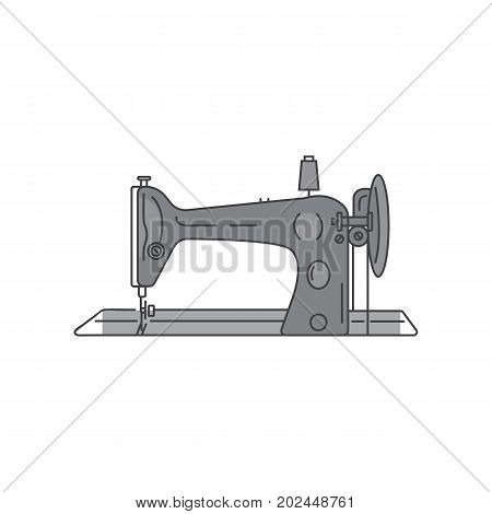 Retro sewing foot machine vector. Metal sewing machine linear illustration