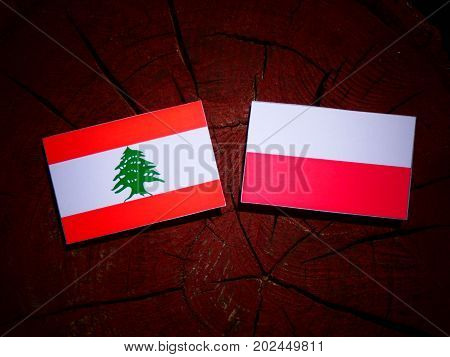 Lebanese Flag With Polish Flag On A Tree Stump Isolated