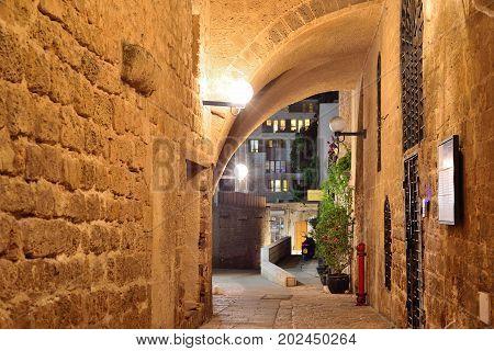 TEL AVIV ISRAEL- APRIL 2017: stone old city Jaffa in Tel Aviv at night