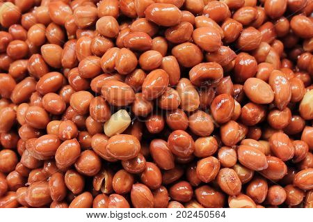 Pile of Fried and Salted Peanuts or Groundnut Background Good Source of Dietary Fiber Vitamins and Minerals.
