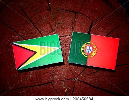 Guyana Flag With Portuguese Flag On A Tree Stump Isolated